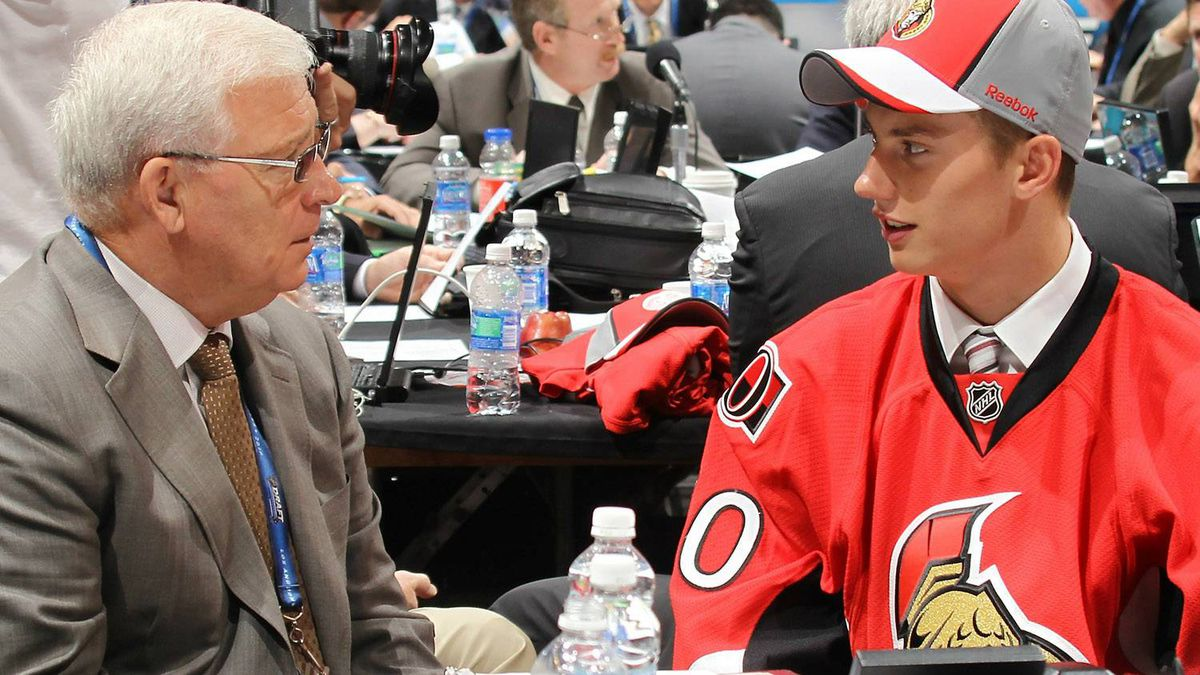 Bryan Murray, general manager of the Ottawa Senators, speaks with third round draft pick Jakub Culek during day two of the 2010 NHL Entry Draft at Staples Center on June 26, 2010 in Los Angeles, California. (Photo by Bruce Bennett/Getty Images)