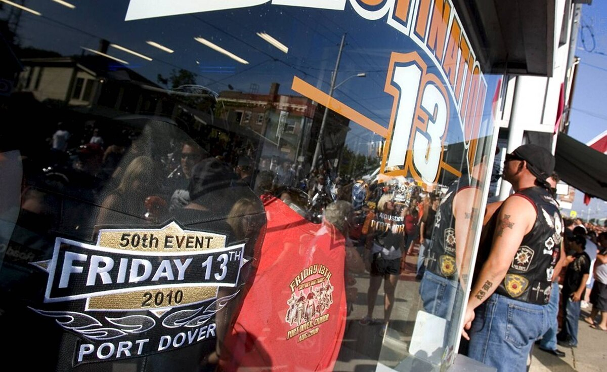 Thousands of bikers and fans of bikes, and those just wanting to view the spectacle descended upon Port Dover, Ontario for the 50th Friday the 13th Ride to Port Dover. This is the front window of one of the many stores selling Friday the 13th souvenirs.