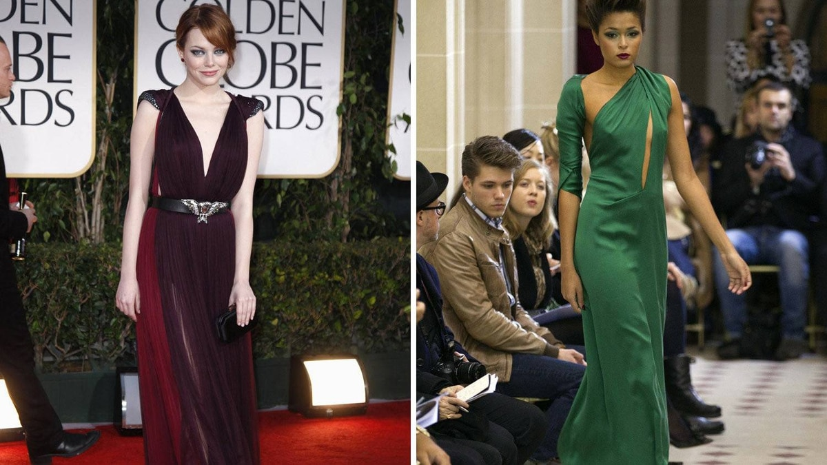 Emma Stone in Atelier Gustavo Lins The hair, the skin, the body – Stone looks good in just about everything, but truly shines in jewel tones. This emerald gown is a little out of the box, but she's been known to push boundaries. And that slit? Oh, maybe it's a bit much. But she's young. Flaunt it while you've got it.