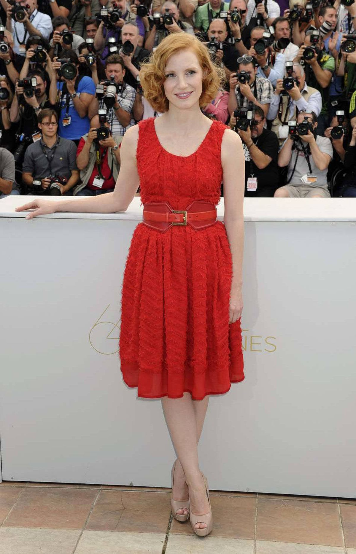 "Actress Jessica Chastain at the photo call for ""The Tree of Life"" at the Cannes Film Festival on Monday."