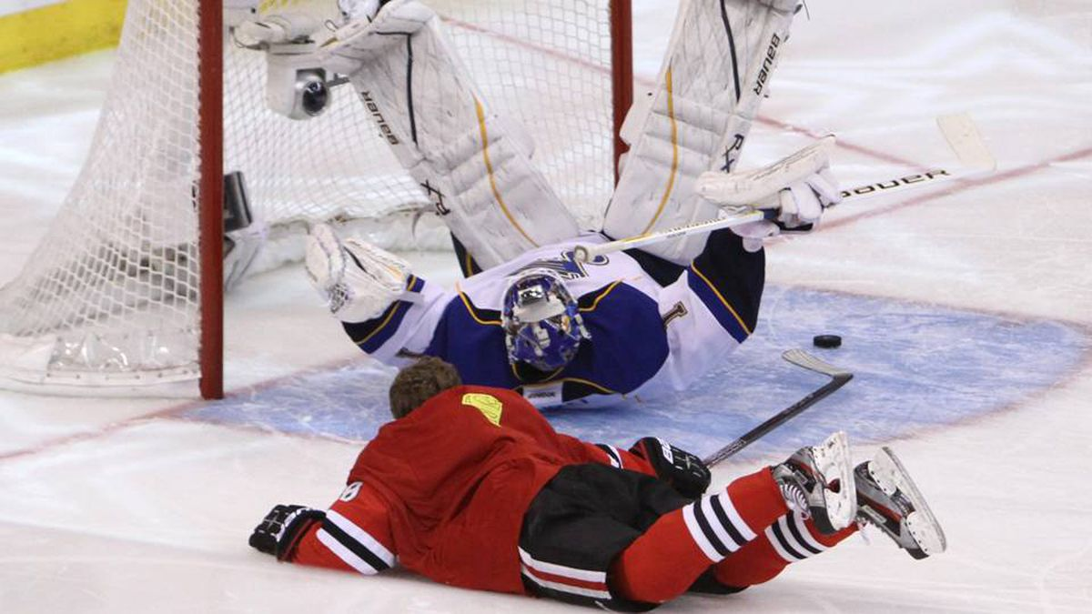 Chicago Black Hawks' Patrick Kane (88)attempts to get the puck past St. Louis Blues goaltender Brian Elliott during the breakaway challenge at NHL all-star skills competition in Ottawa, Saturday.