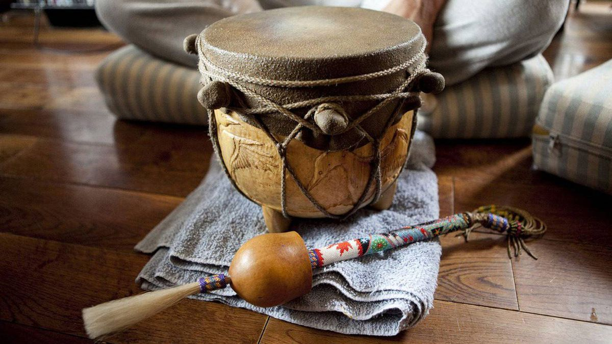 A traditional water drum, which Bryan Bird, a Cree community member of the Fort McMurray First Nation, shared with the visiting natives of Peru.