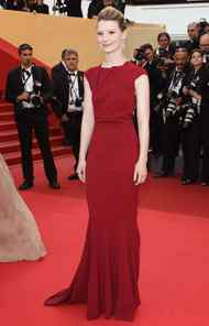 "Actress Mia Wasikowska at the ""Sleeping Beauty"" premiere in Cannes on Thursday."
