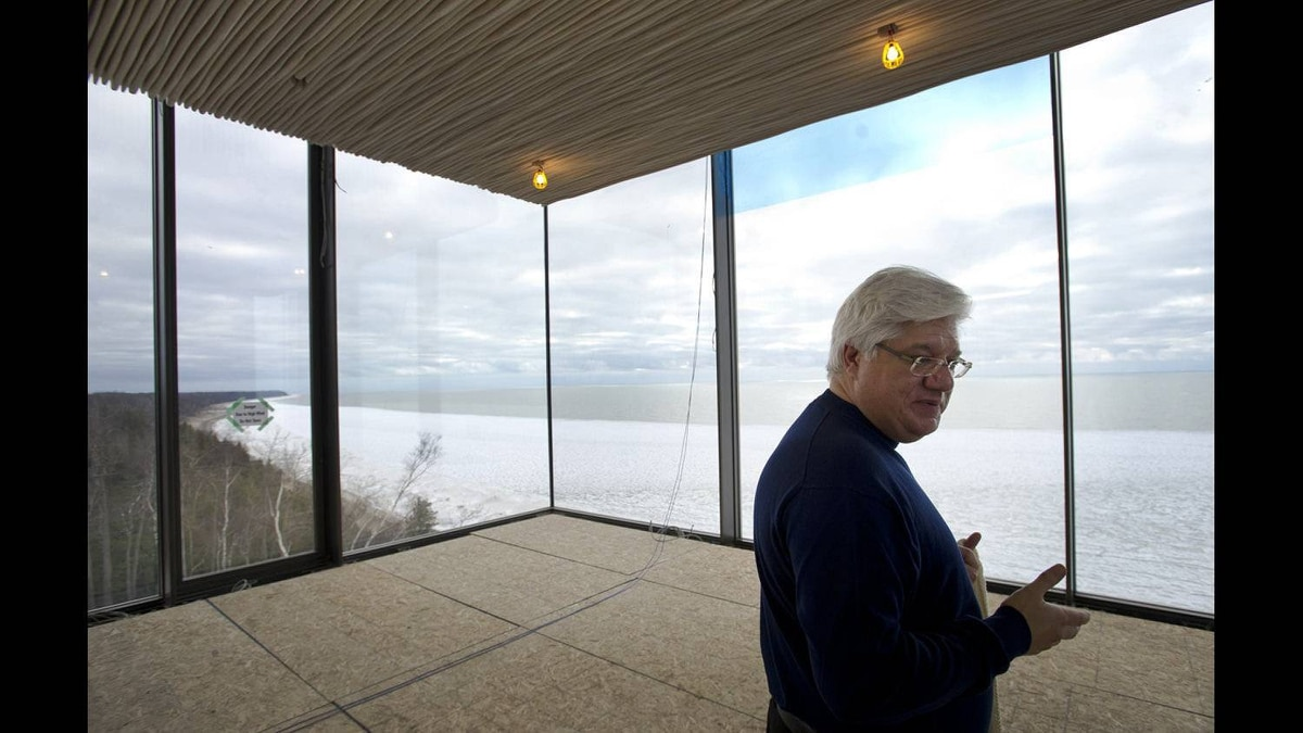 Former RIM co-CEO Mike Lazaridis' stands in what will be his office at his property located near Amberley, Ont. Feb. 1, 2012.