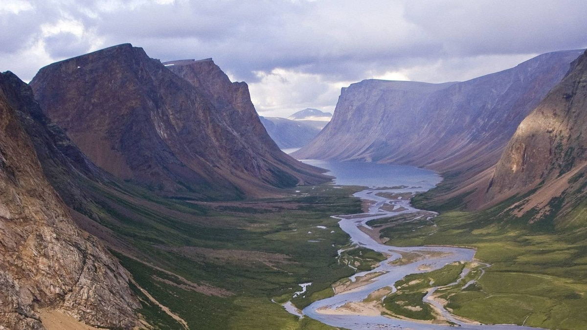 Heiko Wittenborn photo: Southwest Brook flowing into Southwest Arm of Saglek Fjord over Torngat Mountains National Park in northern labrador.