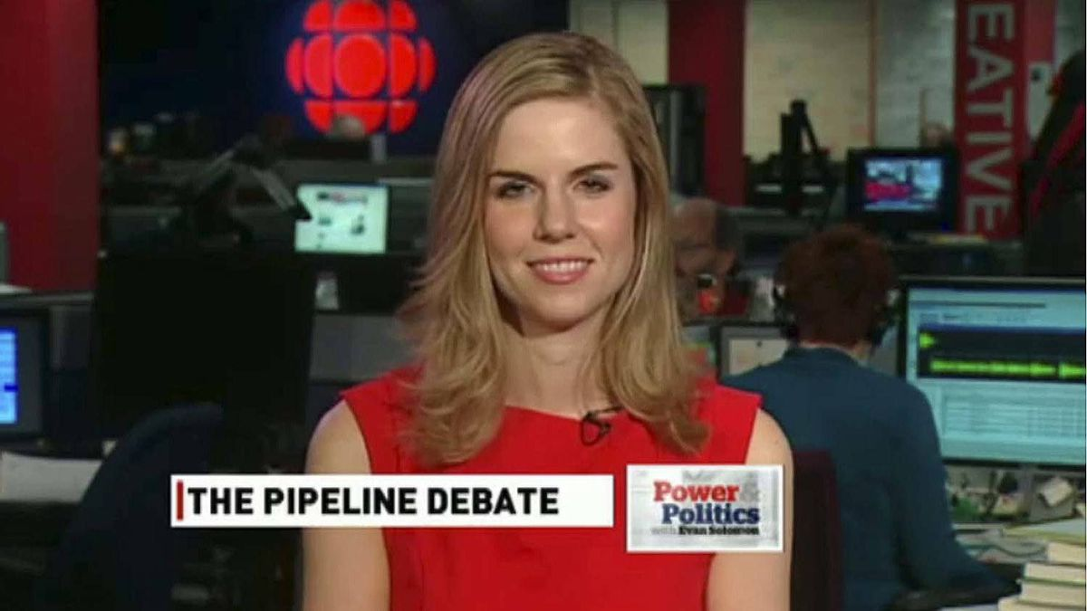 Screen grab of Ethical Oil spokesperson Kathryn Marshall during an interview with the CBC