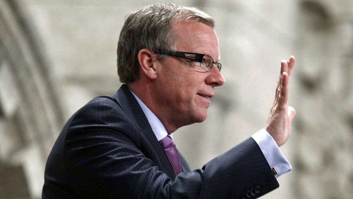 Saskatchewan Premier Brad Wall acknowledges MPs from the gallery of the House of Commons on March 6, 2012.