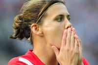 Canada's striker Christine Sinclair reacts during the opening match of the FIFA women's football World Cup Germany vs Canada (Group A) at Berlin�??s Olympic Stadium on June 26, 2011. Germany won by 2-1. Getty Images/ JOHANNES EISELE