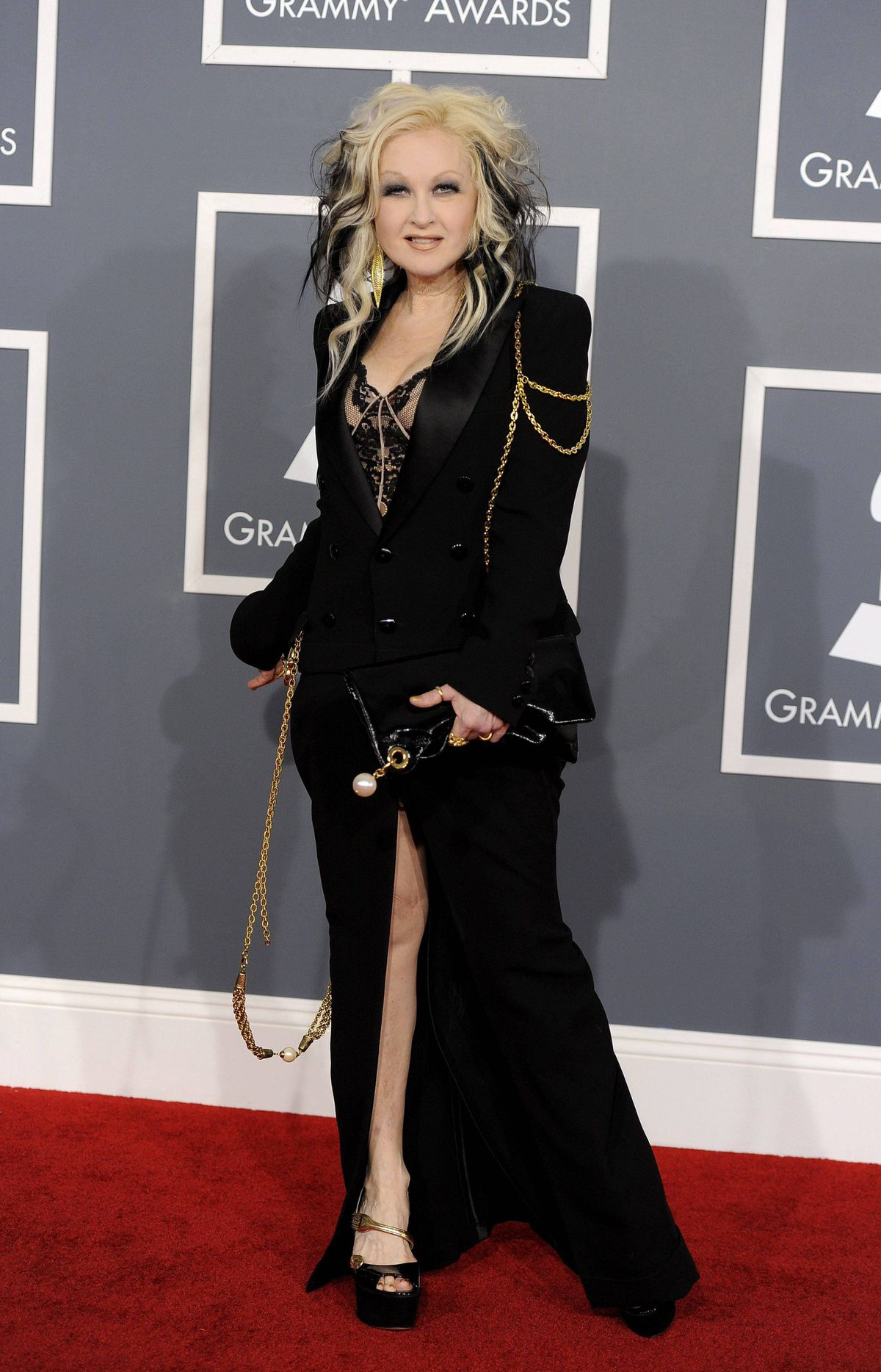 Cyndi Lauper arrives at the 54th annual Grammy Awards on Sunday, Feb. 12, 2012 in Los Angeles.