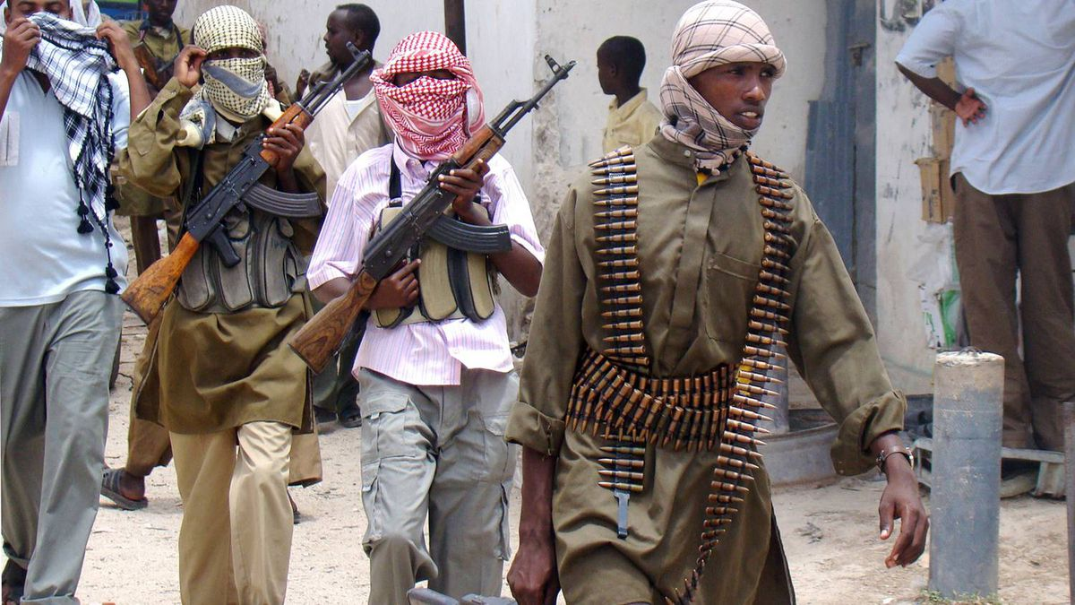 Shabab militia patrol Bakara Market in Mogadishu on October 4, 2009.