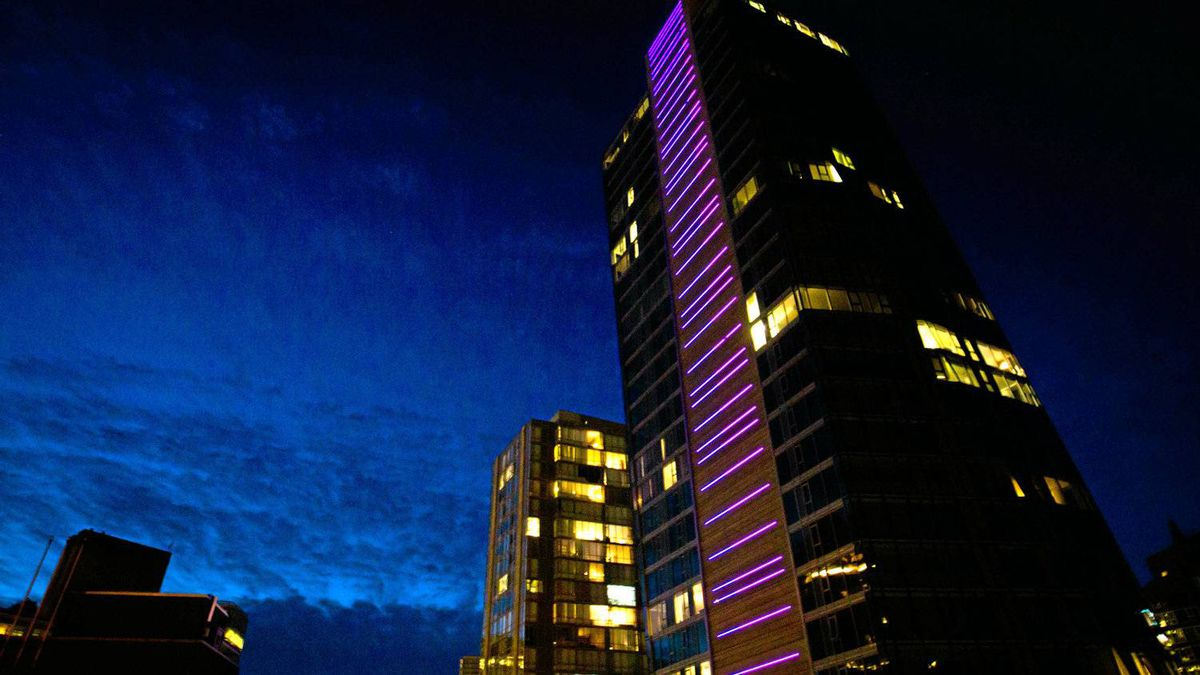 A LED light installation by Dutch artist Tamar Frank is pictured on the West Pender Place condo in Vancouver, B.C., on Sept. 23, 2011.