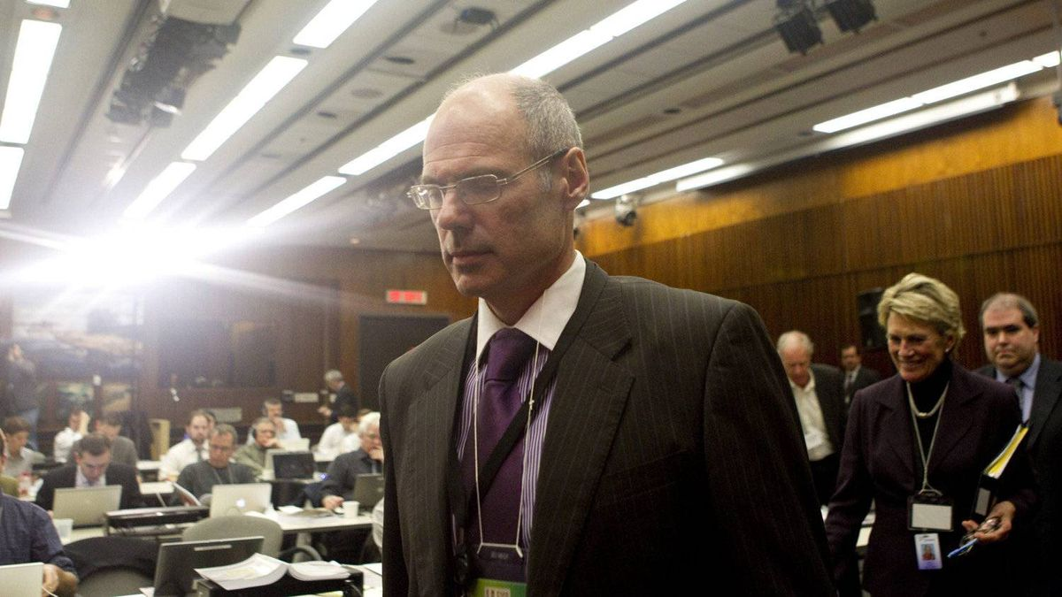 Economist Don Drummond arrives at a news conference in Toronto on Wednesday.