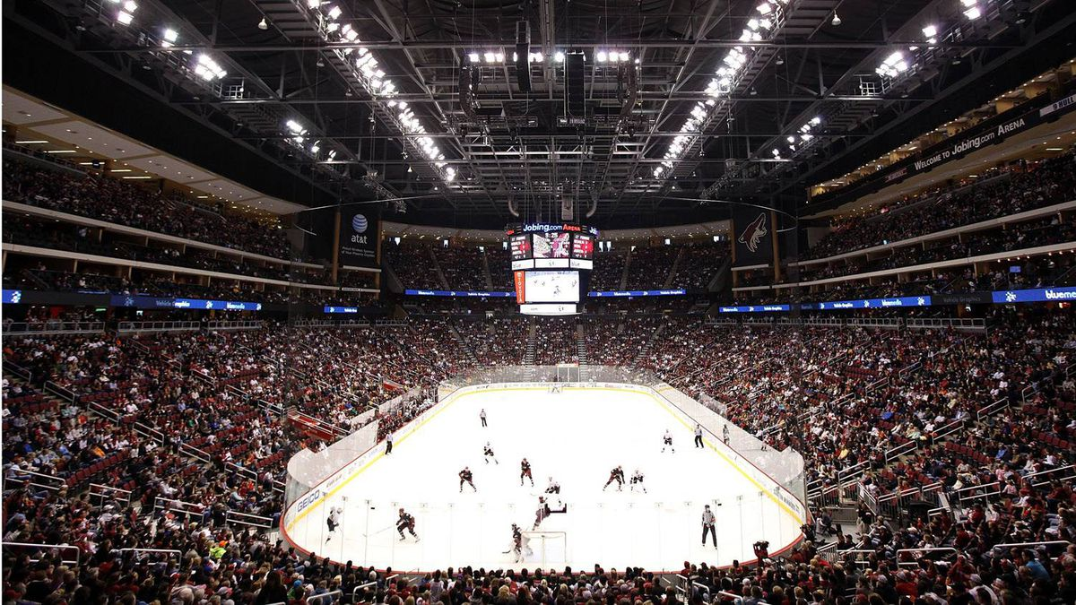 A general view of Jobing.com Arena, home of the Phoenix Coyotes.