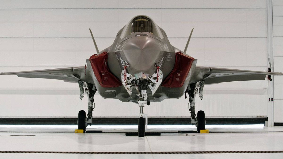 A U.S. Marine F-35 Joint Strike Fighter jet sits in a hangar after the roll-out ceremony at Eglin Air Force Base in Florida on Feb. 24, 2012.