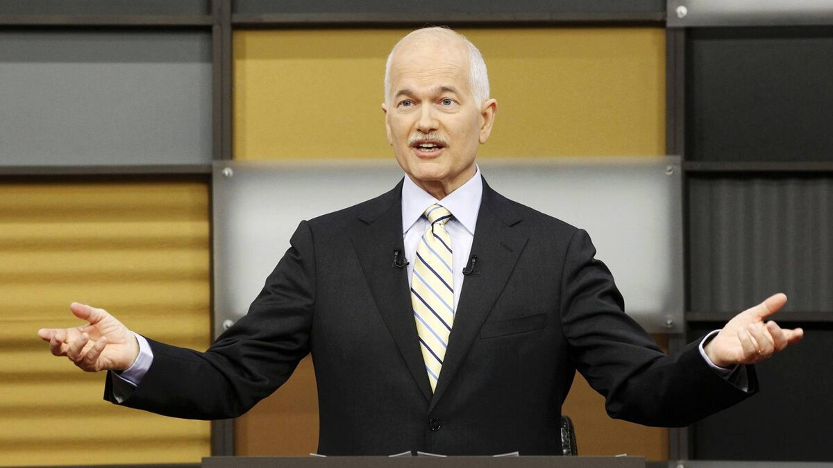 New Democratic Party leader Jack Layton takes part in a televised English language debate in Ottawa, April 12, 2011.