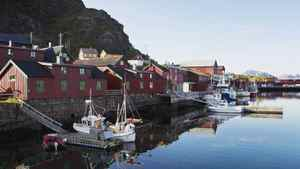 The Norwegian fishing village of Stamsund. House prices in Norway have soared by about 120 per cent since 1996.
