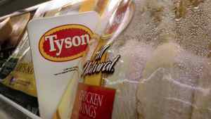In this May 3, 2009 file photo, Tyson Foods chicken products are displayed on the shelves of a Little Rock, Ark. grocery store.