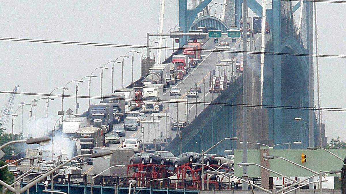 Traffic on the Canadian side of the Ambassador Bridge between Windsor, Ont., and Detroit.