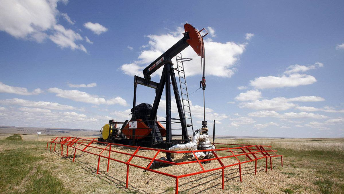 A Canadian Natural Resources pump jack pumps oil out of the ground near Dorothy, Alberta.