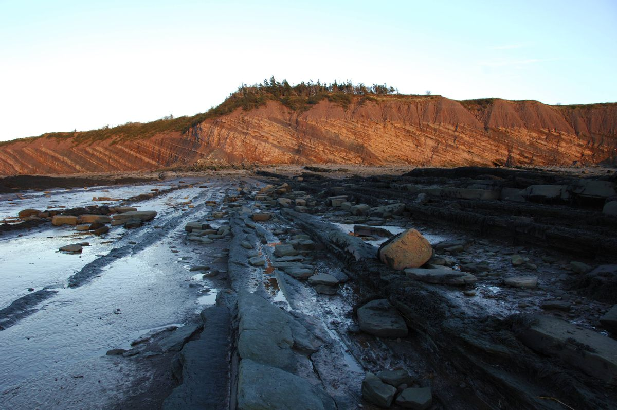 Views at the Joggins Fossil Cliffs at sunset. The Cliff is one of the few sites of significant fossil discoveries in Nova Scotia, where a man accidentally made the biggest discovery ever this week.