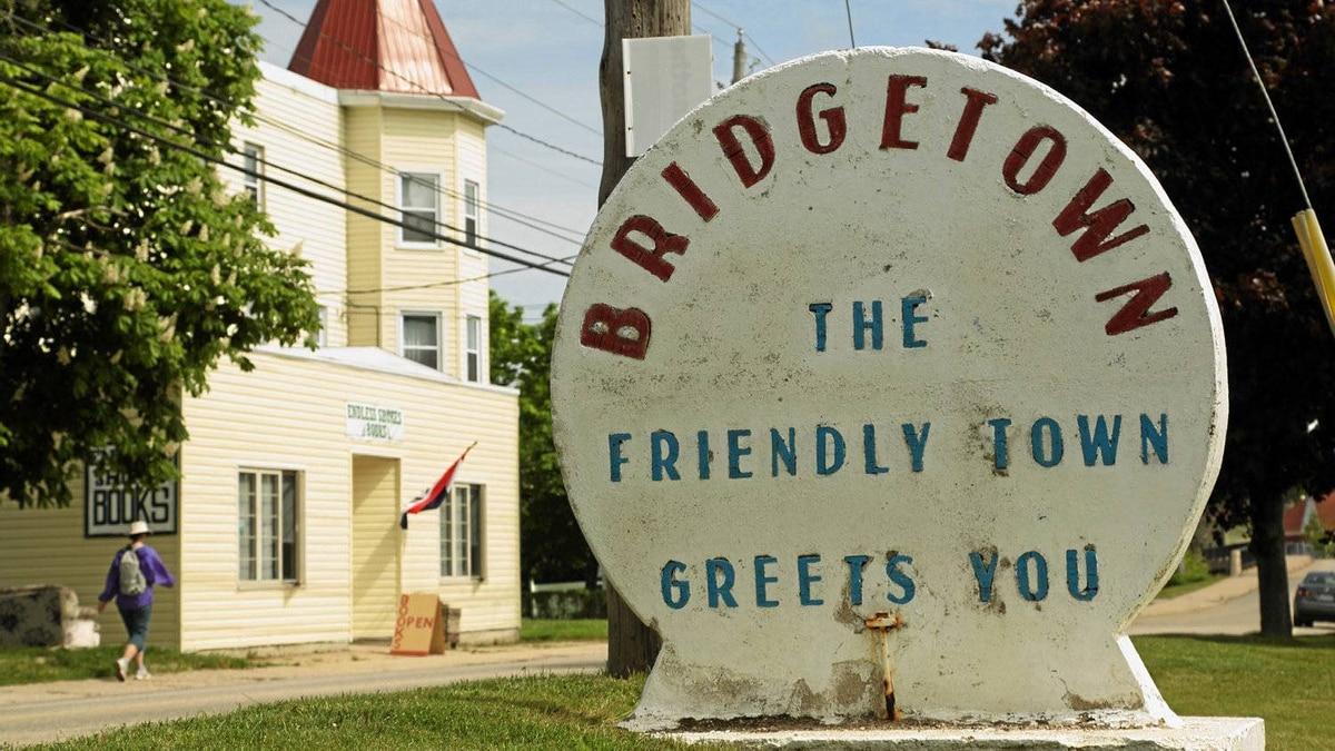 A community welcome sign in Bridgetown, Nova Scotia, May 28 , 2012.