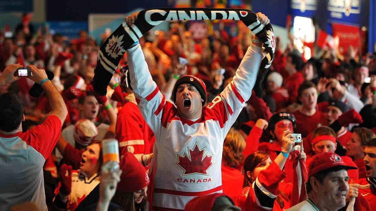 Fans in Canada House cheer Canada's 3-2 gold medal hockey victory over the U.S. at the 2010 Vancouver Olympic Winter Games. Scott Gardner/The Canadian Press