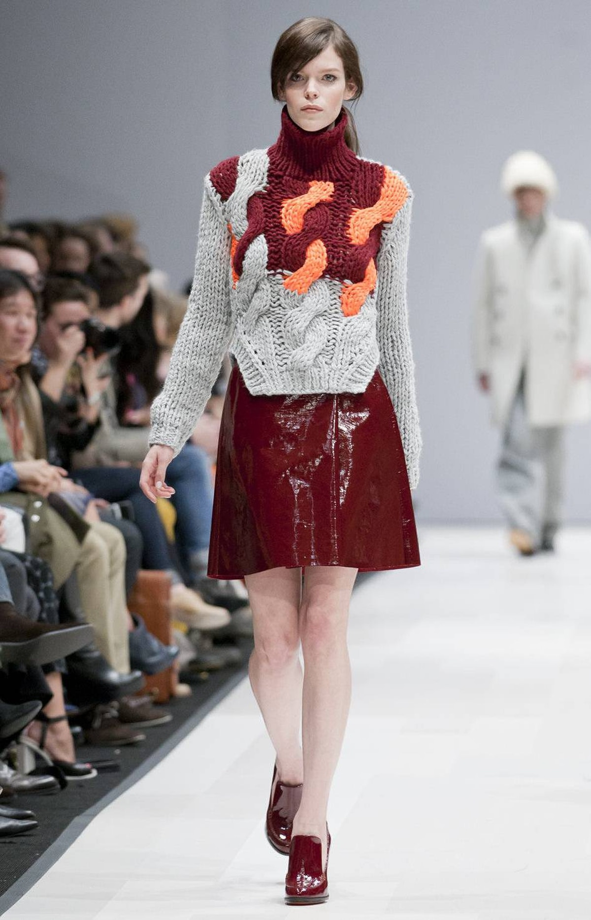 The standard 'basics with a twist' refrain is no longer sufficient to describe Joe Fresh, which has grown into a trendsetting, runway-centric brand since its inception six years ago. For fall, the sweaters - including this neon-on-grey number - were a standout.