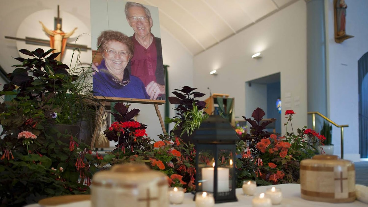 The portrait of Lyle and Marie McCann at their memorial service at the St. Albert Catholic Church, in St. Albert, Alta., on Saturday, July 30, 2011.