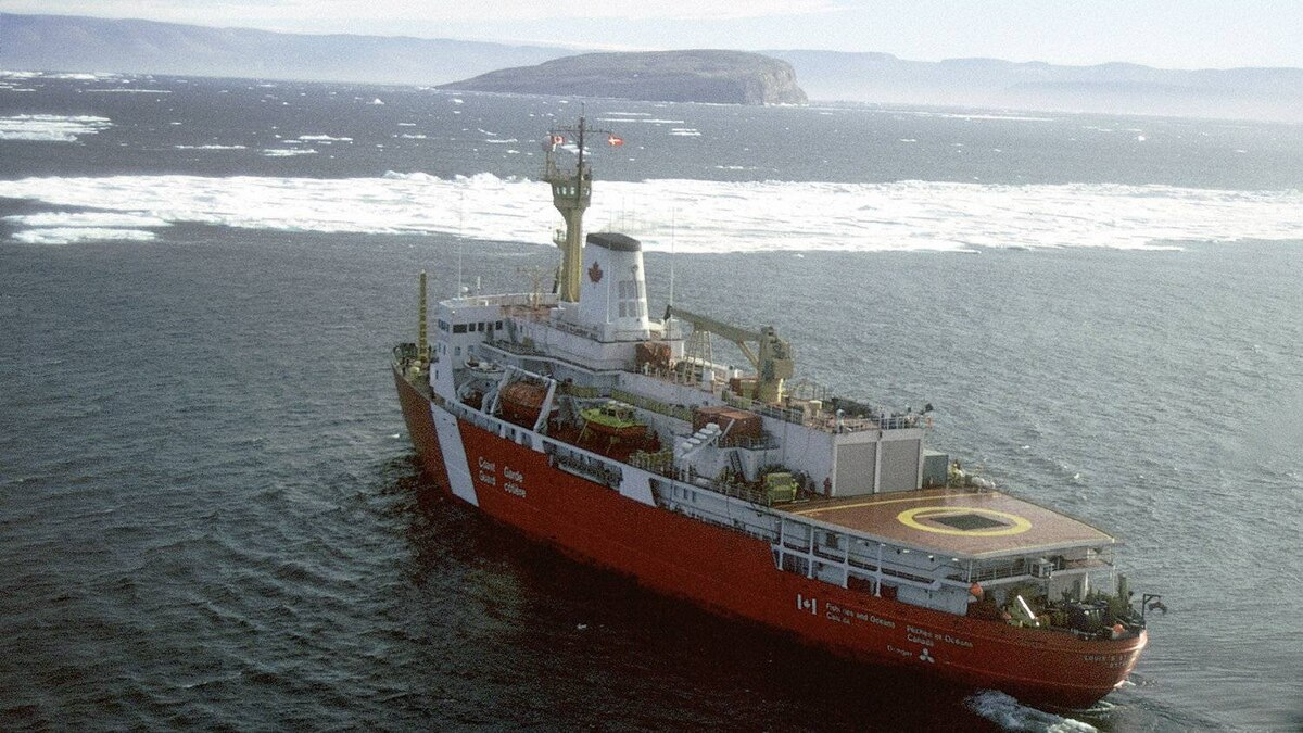 A Canadian Coast Guard vessel patrols near Hans Island, the subject of a territorial dispute with Greenland, in 2005.