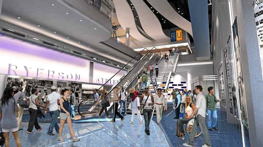 An artist's rendering of the main lobby of the Ryerson Athletics and Recreation Centre at Maple Leaf Gardens.