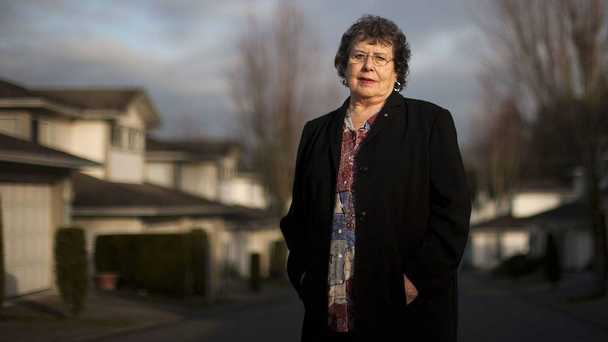 Sherry Baker, 72, who runs a website that matches older workers to employers, called 55 Plus Pros, poses for a portrait outside her home office in Langley, B.C.