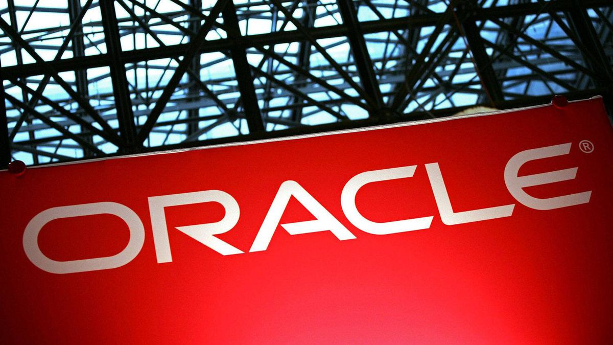 An Oracle sign is shown at the National Retail Federation convention on Tuesday, January 15, 2008 in New York.