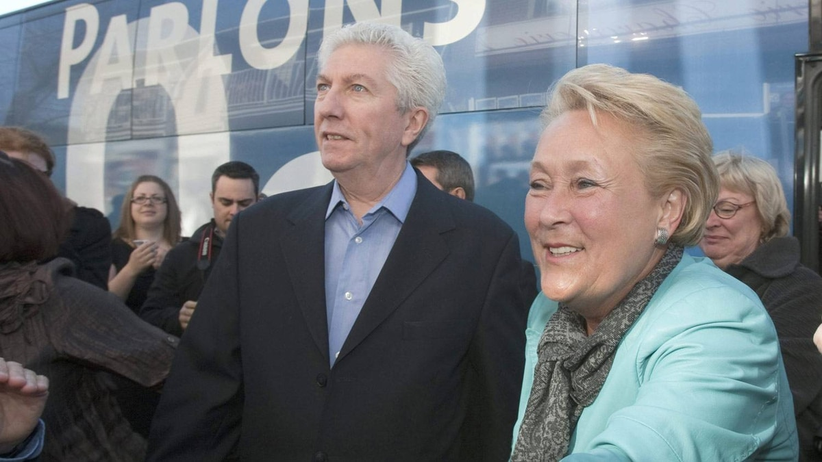 Bloc Quebecois Leader Gilles Duceppe, left, is joined by Parti Quebecois Leader Pauline Marois as they begin a long day of travelleing together as the campaign comes to an end Saturday, April 30, 2011 in Longueuil Que. Canadians are going to the polls on Monday May 2.