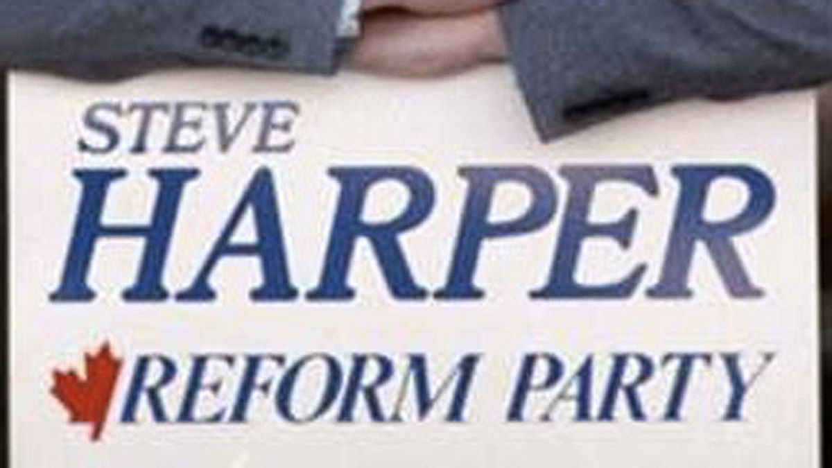 A detail of a photograph on the vintagevoter.ca site, showing a vintage 'Steve' Harper Reform Party sign.