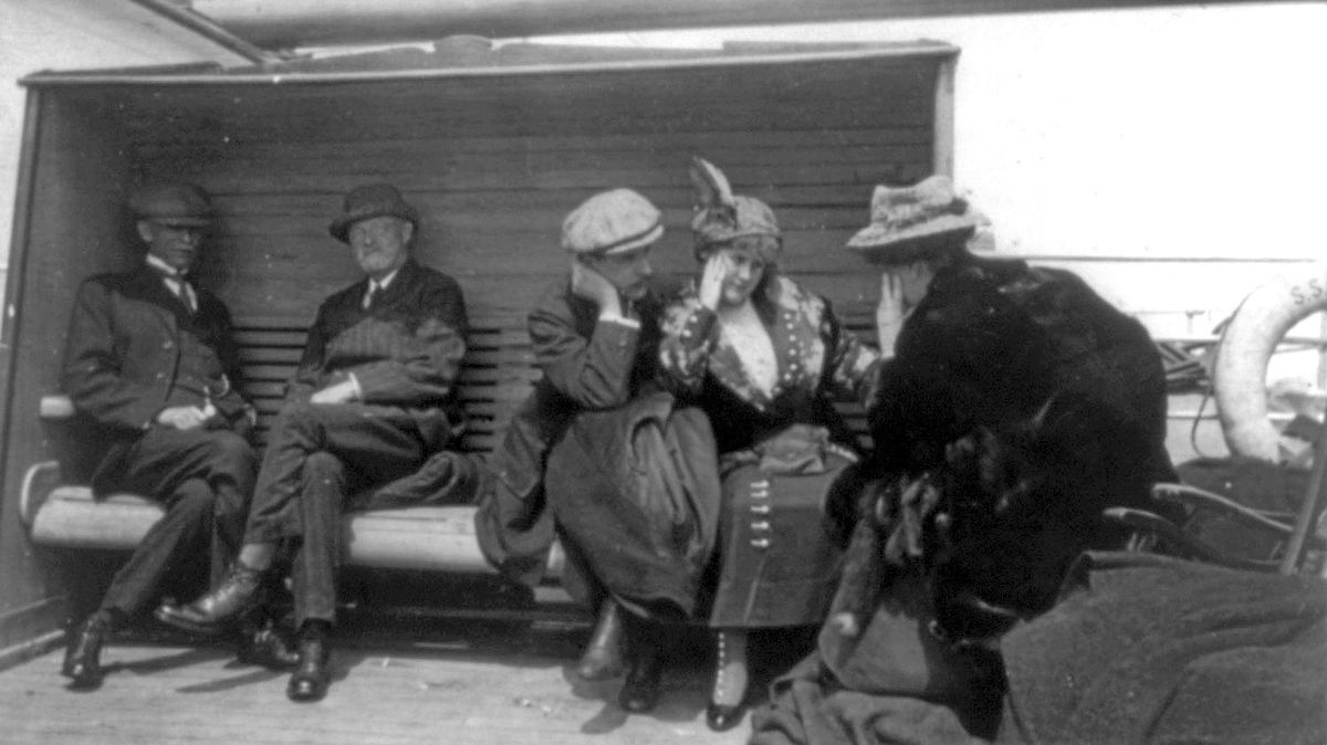Mrs. G.A. Harder and Mrs. Charles M. Hayes, survivors of the Titanic disaster, talking aboard the Carpathia after being rescued, April 1912. The Titanic was considered unsinkable but foundered in frigid Atlantic waters off Newfoundland after striking an iceberg. About 700 passengers survived in lifeboats, but some 1,500 perished in the sinking.