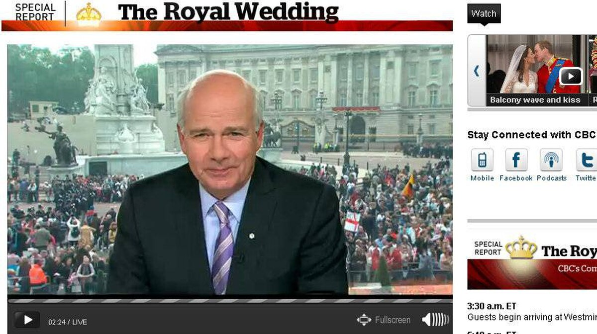A screencapture of Peter Mansbridge on CBC's broadcast of the Royal Wedding