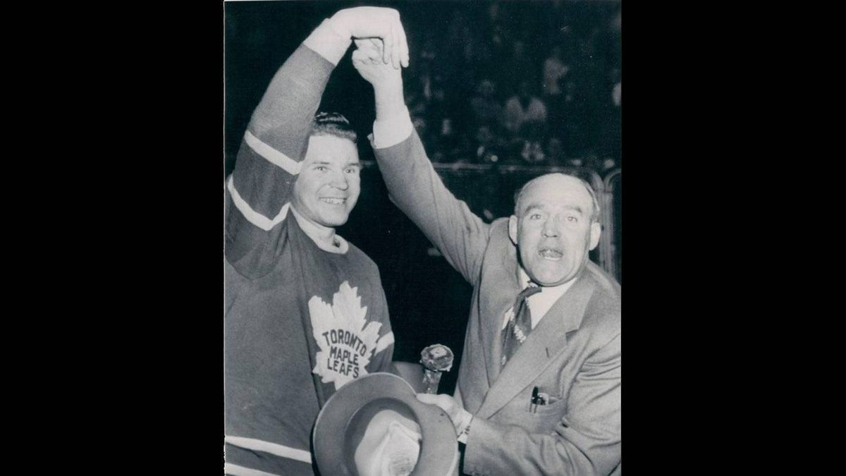 King Clancy, right, last coached the Toronto Maple Leafs in 1972. He also coached in 1966, and from 1953-1956.