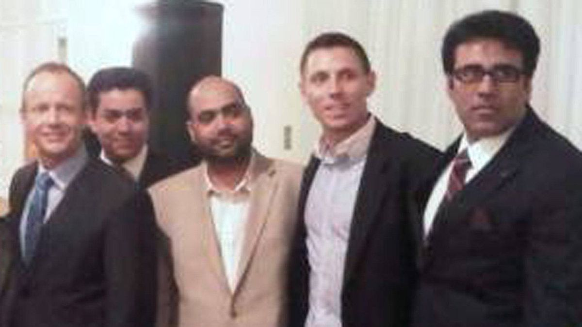 Snover Dhillon, centre, in a photograph posted by Tory MP Patrick Brown. Mr. Brown is standing between Mr. Dhillon and former Conservative candidate Stockwell Day, at left.