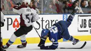 Colorado Avalanche captain Adam Foote gets tangled up with Jason Blake of the Toronto Maple Leafs in an Oct. 13 NHL game.