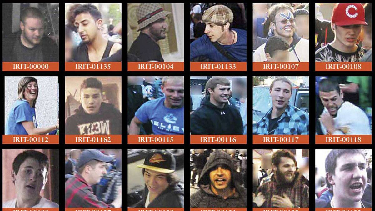 Several wanted posters of suspected Stanley Cup rioters distributed by the Vancouver Police Department.