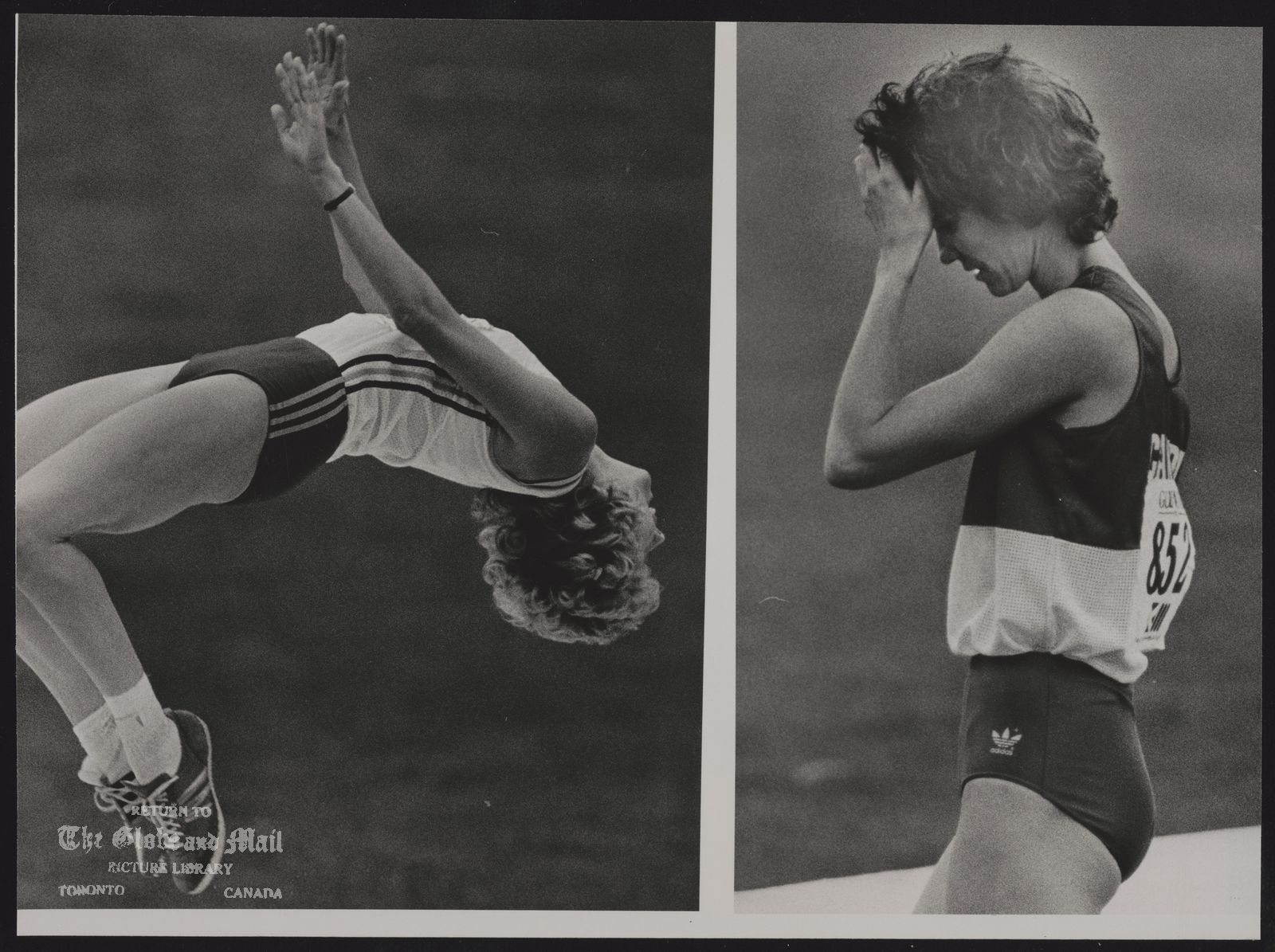 COMMONWEALTH GAMES EDINBURGH 1986 EDI11:SPEIAL FOR THE TORONTO GLOBE AND MAIL CANADA. EDINBURGH, SCOTLAND, AUGUST 1-COMBO-Ecstacy and the high jump event today. Right: Canadian Debbie Brill is dejected after being eliminated from the event. REUTER rt/Hans Deryk