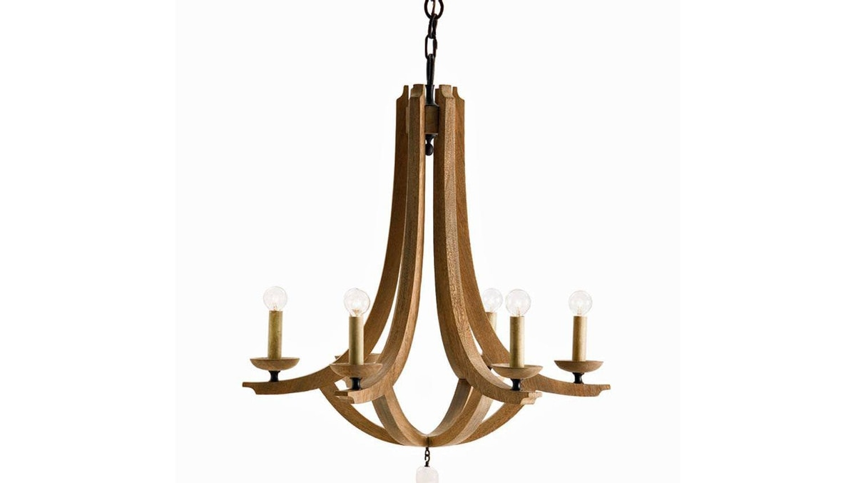 This simple oak chandelier by Arteriors Home combines Scandinavian-style minimalism with the warmth of natural wood.