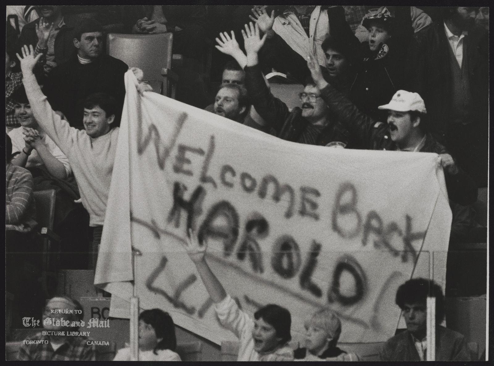Harold BALLARD Toronto. Businessman Fans salute Leaf boss Harold Ballard, who remains as feisty as ever despite ailments.