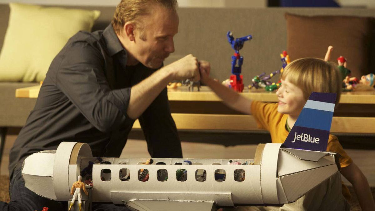 """Morgan Spurlock (director, left) and Joshua Wanatik (stunt son) in a scene from """"POM Wonderful Presents: The Greatest Movie Ever Sold"""""""