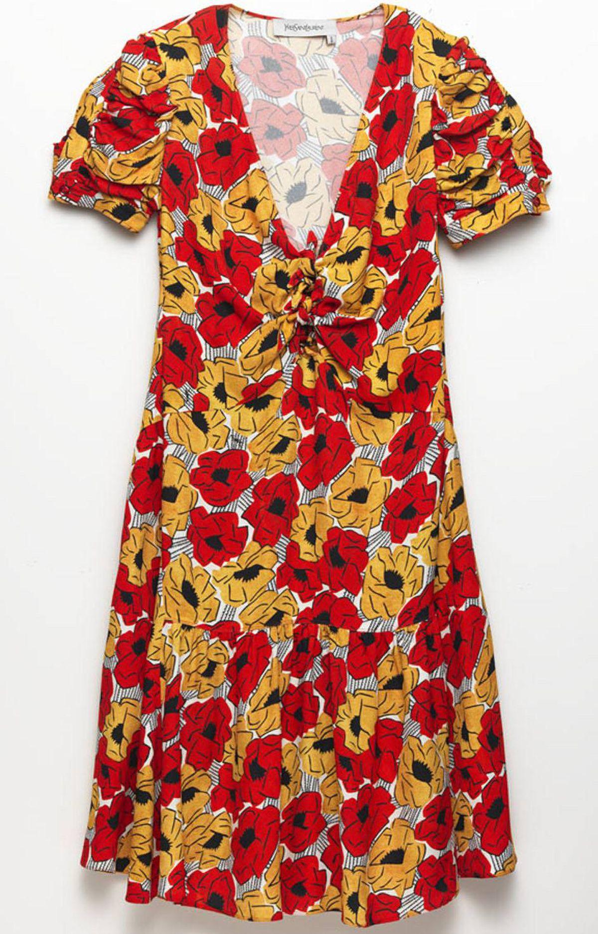 Floral dress by Yves Saint Laurent, $2,290 at Holt Renfrew (www.holtrenfrew.com).