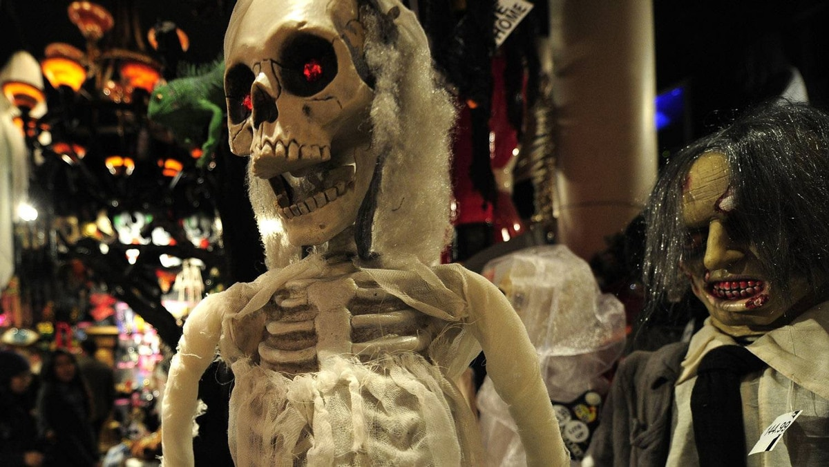 Halloween costumes are displayed at a shop in New York, October 25, 2011.