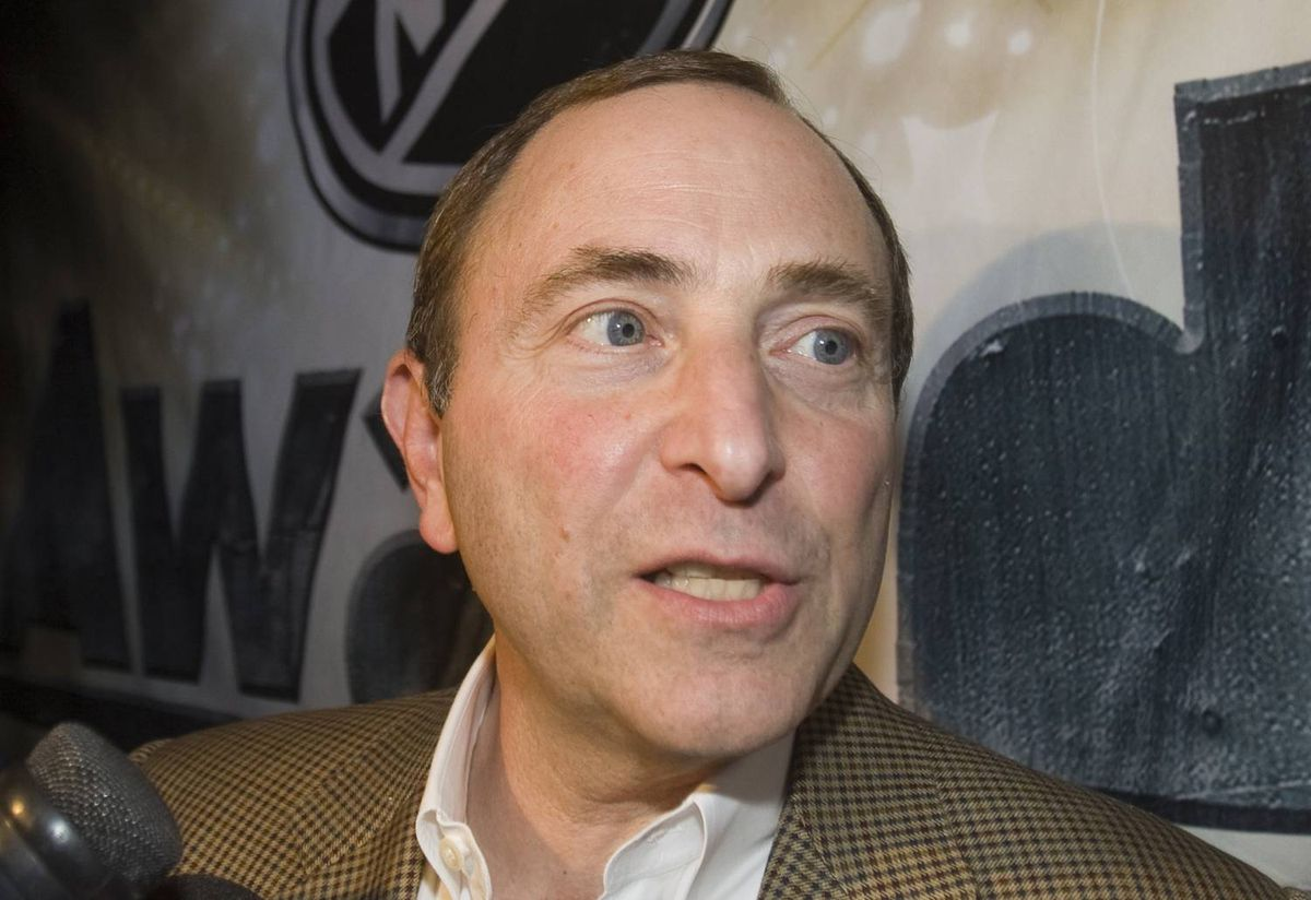 National Hockey League Commissioner Gary Bettman, speaks to reporters at a reception in Las Vegas, Wednesday, June 17, 2009.
