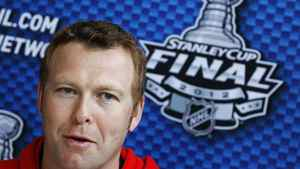 New Jersey Devils goalie Martin Brodeur speaks to reporters during Media Day before Game 1 of their NHL Stanley Cup hockey final against the Los Angeles Kings in Newark, New Jersey May 29, 2012. The Stanley Cup Final will be played on May 30 in Newark.