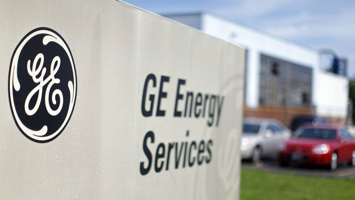 The sign at the entrance to a General Electric Co. facility is seen in Medford.