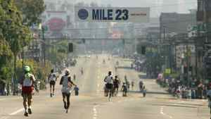 The LA Marathon passes such landmarks as the Staples Centre, the University of South California and the Los Angeles County Art Museum.